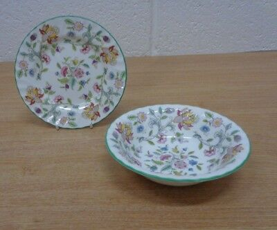 Minton China Haddon Hall Dessert Bowl and Side Plate Tea Items x2 Tableware