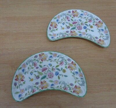 Minton China Haddon Hall Crescent Shaped x2 Dish Plates Dishes