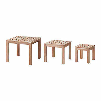 Ikea SKOGHALL Nest Of Tables,3 Set,Solid Acacia,Space Saver,Coffee Side Tables