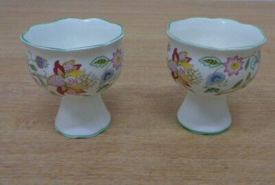 Minton China Haddon Hall x2 Pair Pedestal Pots / Candlestick Holders Tableware
