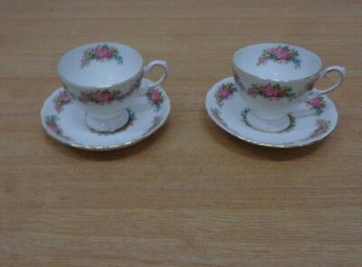 Vintage Tuscan China Naples Cups and Saucers x2 Floral Bundle Job Lot