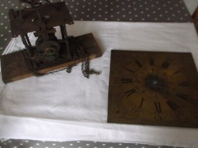 ANTIQUE CLOCK MOVEMENT AND BRASS FACE exactly as per the photos face 11.25""