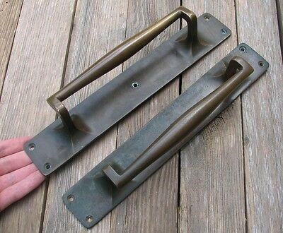 Antique Large Reclaimed Pair of Solid Brass Door Pull Handles 12""