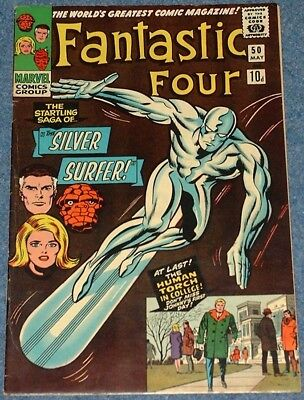 FANTASTIC FOUR # 50 (1966) - 3rd Appearance Silver Surfer and 1st as cover star!