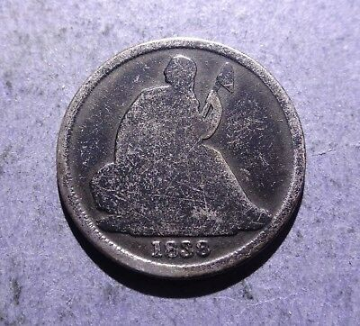 1838-O no stars Seated Liberty Dime Good
