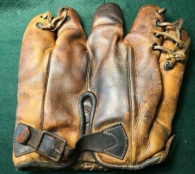 Vintage/Antique 1930's Laced Pinky Buckleback Baseball Glove.