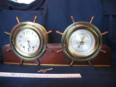 Vintage Ship's wheels clock(seth thomas) and barometer(taylor)