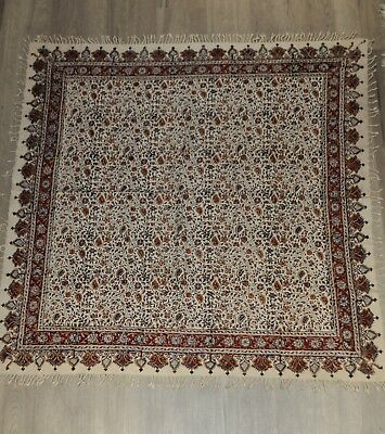 Persian ghalam kar hand made printed signed tapestry tablecloth calico fine art
