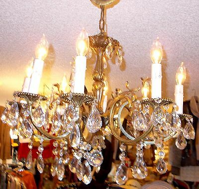 Gorgeous Antique European Grand Brass 8 Arm Chandelier w/ Crystal Prisms