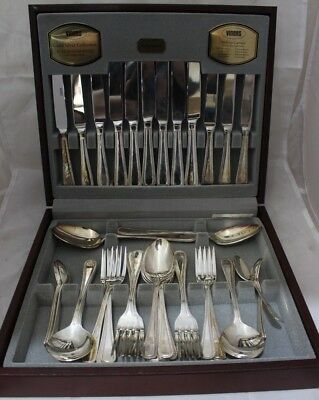 VINERS 44 TRADITIONAL Piece Cutlery Canteen Set Silver  WOODEN BOX-250
