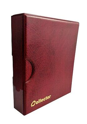 Collector Coin Album IN CASE - for 300 mix sizes coins Book Folder - RED