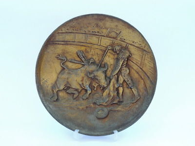 Heavy Old Vintage Antique Art Deco Corrida Plate Wall Hanging Bronze Brass 21cm