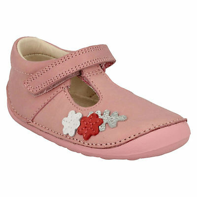 Tiny Blossom Girls Clarks Pre Walking Leather Riptape T Bar Casual First Shoes