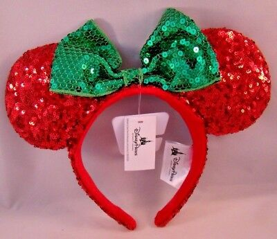 Disney Parks Minnie Mouse Ears Headband Red Sequin Green Bow Holiday Christmas