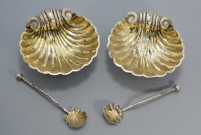 1886 STERLING SILVER 2x Shell Shaped SALT CELLARS & Spoons - By Mitchell Bosley