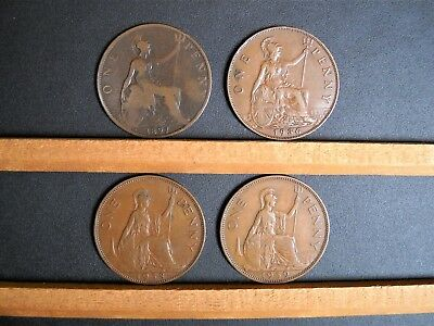 1897 1936 1938 1939 England Penny - Lot of 4 UK English Coins