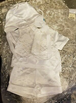 4pc Boys White Christening Outfit Size 6 9 Months Baby Boy Infant