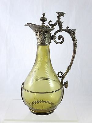 19th c. Rennaisance Revival FRENCH BRONZE Glass CLARET JUG Bacchus Griffin
