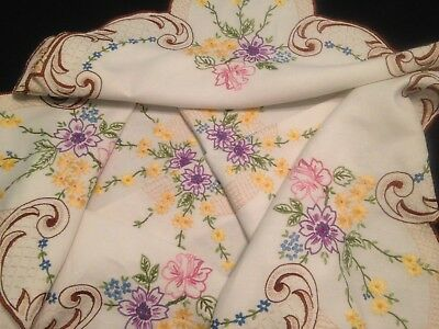 VINTAGE HAND EMBROIDERED WHTIE LINEN TABLECLOTH – FLOWERS and SCROLLS
