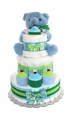 3 Tier Diaper Cake - Blue Teddy Bear Diaper Cake For Boy - Baby Gift For Baby...