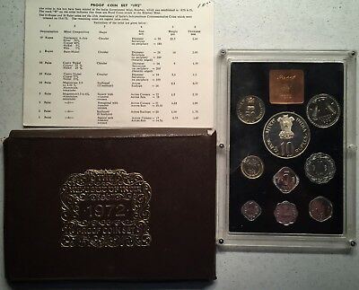 India 1972 Nine Piece Proof Coin Set in Original Packaging