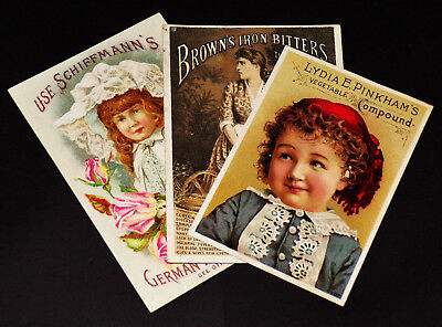 """Lot of 3 1880's-90's """"Medical Tonic"""" Trade Cards"""