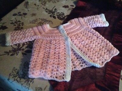A new hand crochet baby girl cardigan pink Trimmed with white 3 - 6 months