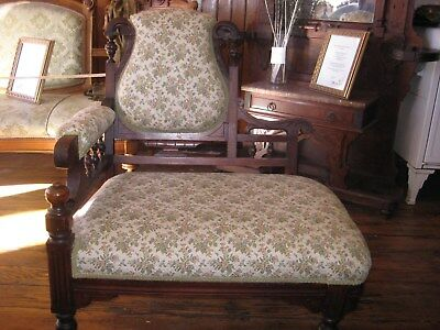 Victorian Aesthetic Parlor Settee/Bustle chair, exceptional, re-upholstered