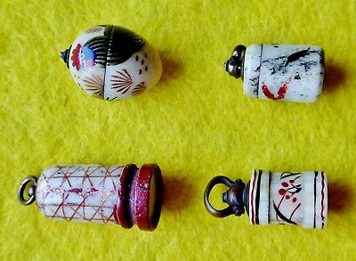 4 Beautiful Miniature Antique Dice Shakers. And 5 Dice in Egg All Good Screw Top