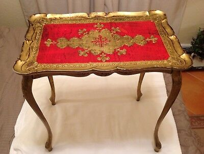 "Beautiful Italian Gold Gilt and Red Ornate Side Table 22"" Tall (Resin)"