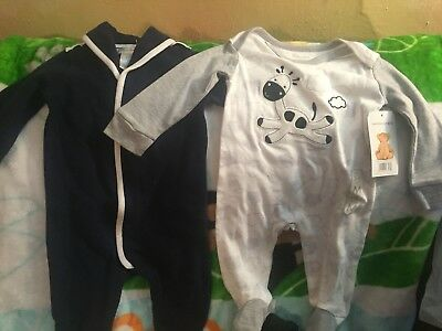 Lot of 2 Baby Boy Sleepers Ralph Lauren and Bon BeBe 3-6 and 6 Months