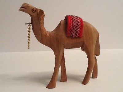 VTG Detailed Hand-Carved Wood Standing Camel Figurine W/Cloth Saddle & Chain