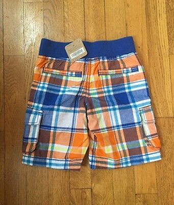 NWT! CraZy 8 Boys 5T Orange And Blue Plaid Shorts