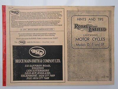 Hints & Tips for Royal Enfield Motorcycles Models D, S and SF, Bruce Main-Smith