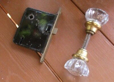 Vintage Crystal Clear Glass Door Knobs Brass Plate Black Latch