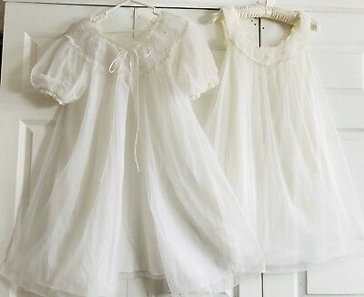 Vtg GOTHAM White Bridal CHIFFON GORGEOUS Peignoir Robe Nightie Nightgown SMALL