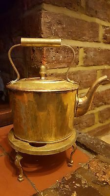 Brass, Copper Teapot Old, Kettle And Trivet - Coffee Or Tea.