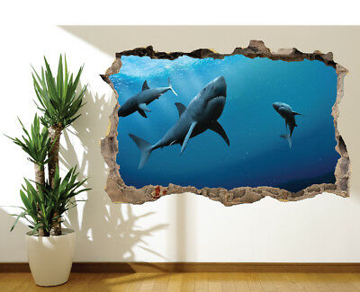 10708290 Sharks swimming in the sea photo Hole in wall sticker wall mural