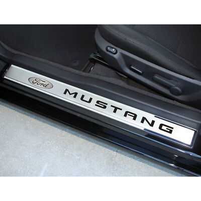 "Door Sill Trim Orange Fury Vinyl ""Mustang"" Inlay&Ford Logo 2p for 10-14 Mustang"