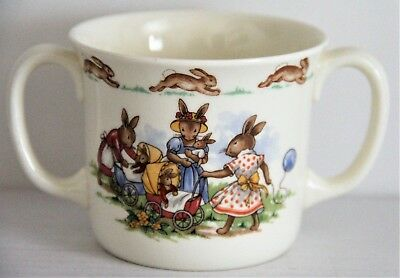 Royal Doulton England Bunnykins 2 Handle Cup Mommy Bunnies  Babies Carriage 1984