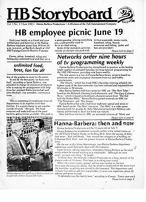 Hanna Barbera HB Storyboard Employee Cast Newsletter Volume 1 No. 1 June 1982