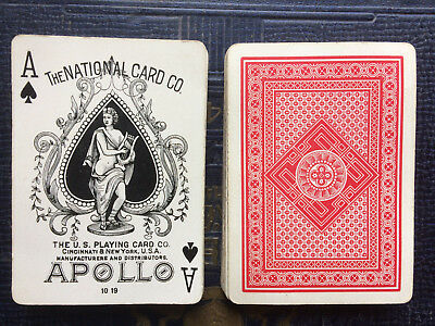 Antique National Card Co. USPC Apollo brand Geo back playing cards Vintage