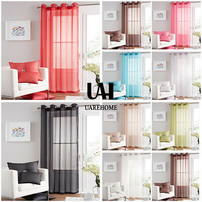 UAREHOME Eyelet Ring Top Voile Curtain Panel - Net Voile Curtains Damask 90 Drop