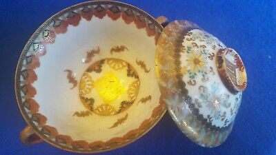 Very pretty Kutani cover tea cup or bowl. Unusual bat pattern.