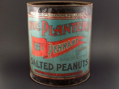 Vintage Antique (Dated 1909) PLANTERS 10lb Pennant Tin Can Salted Peanuts