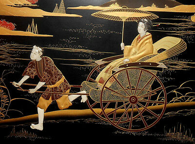Antique Japanese Shibayama Black & Gilt Lacquer Horn Inlaid Panel Meji Period