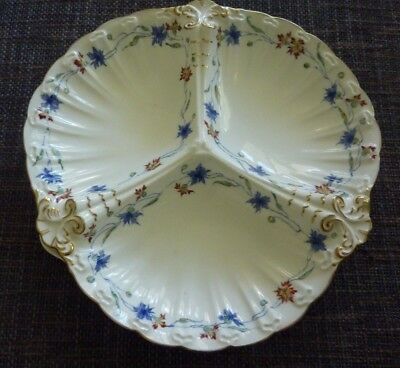 Royal Crown Derby Three Part Relish Serving Tray 7392A Crimson Blue Floral