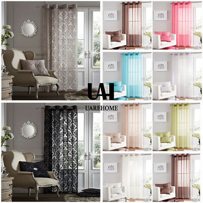 UAREHOME Eyelet Ring Top Voile Curtain Panel - Net Voile Curtains Damask