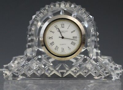 Vintage Waterford Irish Crystal Silver Face Quartz Mantel Clock 2 1/2""