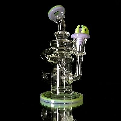 Pink Slyme 14mm Klein Recycler Phatt Ass Glass Art heady glass boro quartz dab